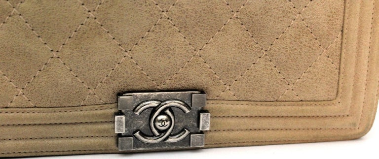 Women's 2013-2014 Chanel Beige Suede Large Boy Bag For Sale
