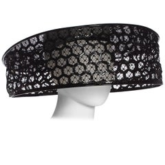 2013 Alexander McQueen Beekeeper Hat Black Patent Leather With 22 Circumference
