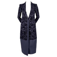 2013 CELINE by PHOEBE PHILO navy floral flocked coat