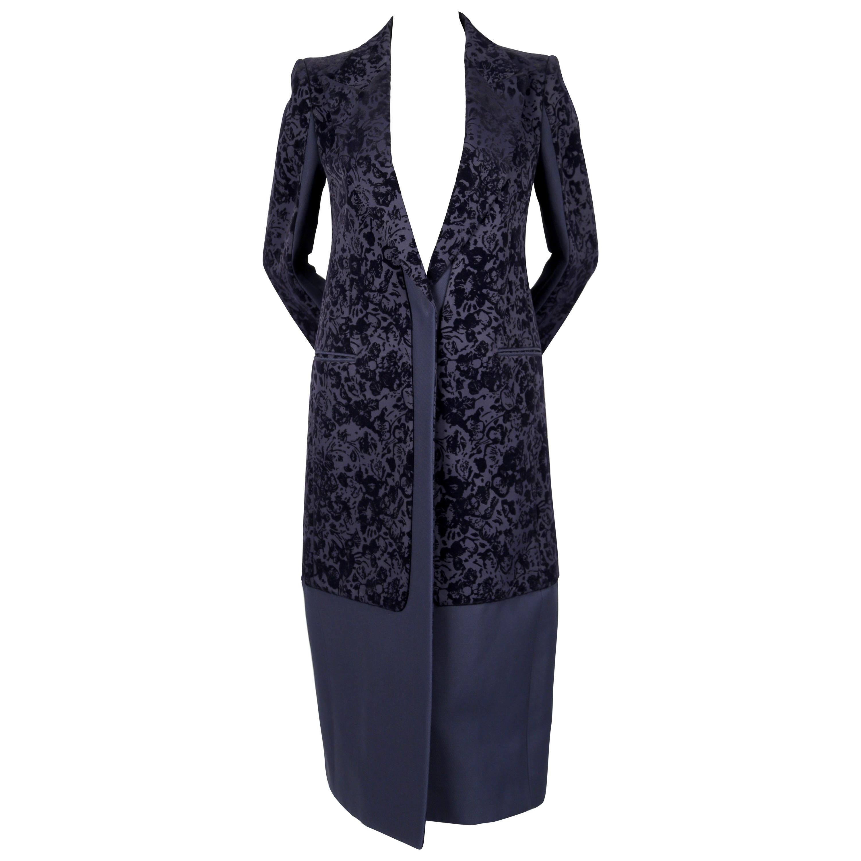 2013 CELINE by PHOEBE PHILO navy floral flocked coat