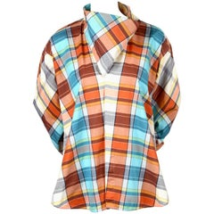 2013 CELINE by PHOEBE PHILO plaid cotton runway shirt with draped neckline