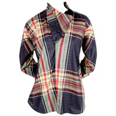 2013 CELINE by PHOEBE PHILO plaid cotton runway shirt with draped neckline - new
