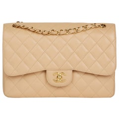 2013 Chanel Beige Quilted Caviar Leather Jumbo Classic Double Flap Bag