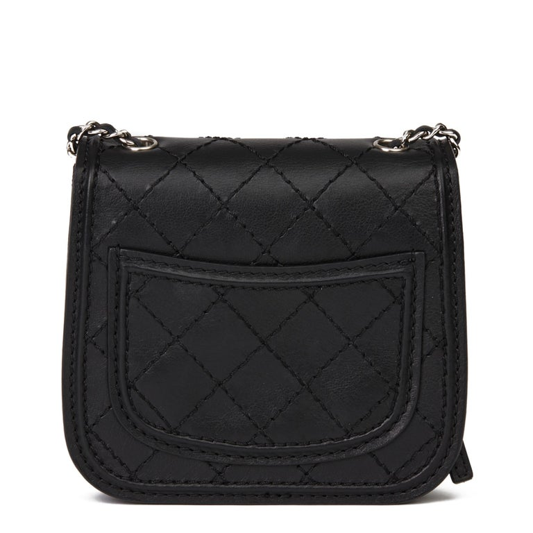 Women's 2013 Chanel Black Quilted Calfskin Leather Citizen Mini Flap Bag  For Sale