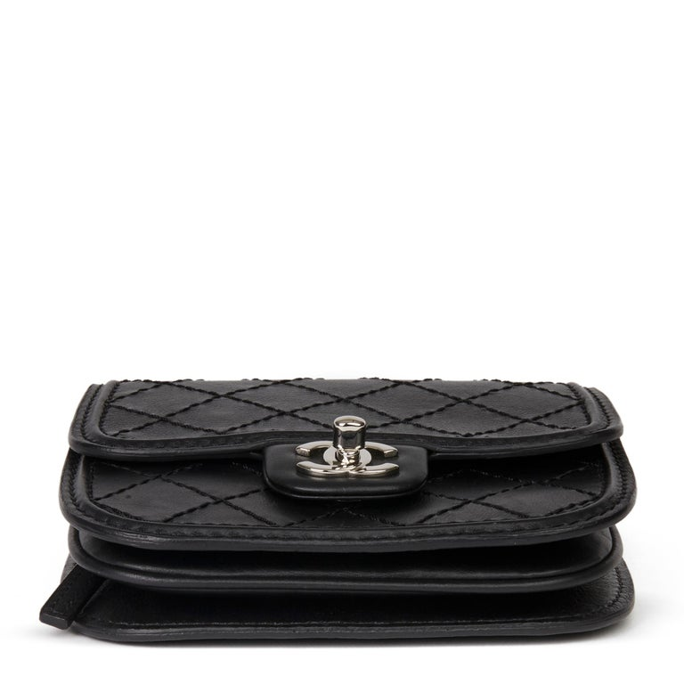 2013 Chanel Black Quilted Calfskin Leather Citizen Mini Flap Bag  For Sale 1