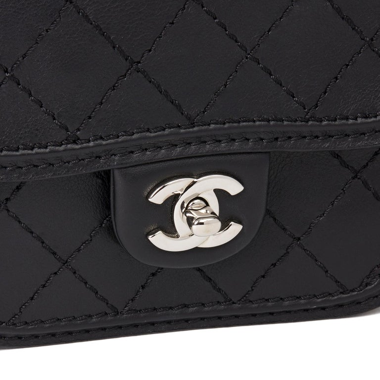 2013 Chanel Black Quilted Calfskin Leather Citizen Mini Flap Bag  For Sale 2