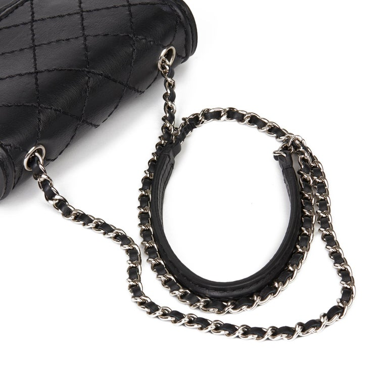 2013 Chanel Black Quilted Calfskin Leather Citizen Mini Flap Bag  For Sale 3