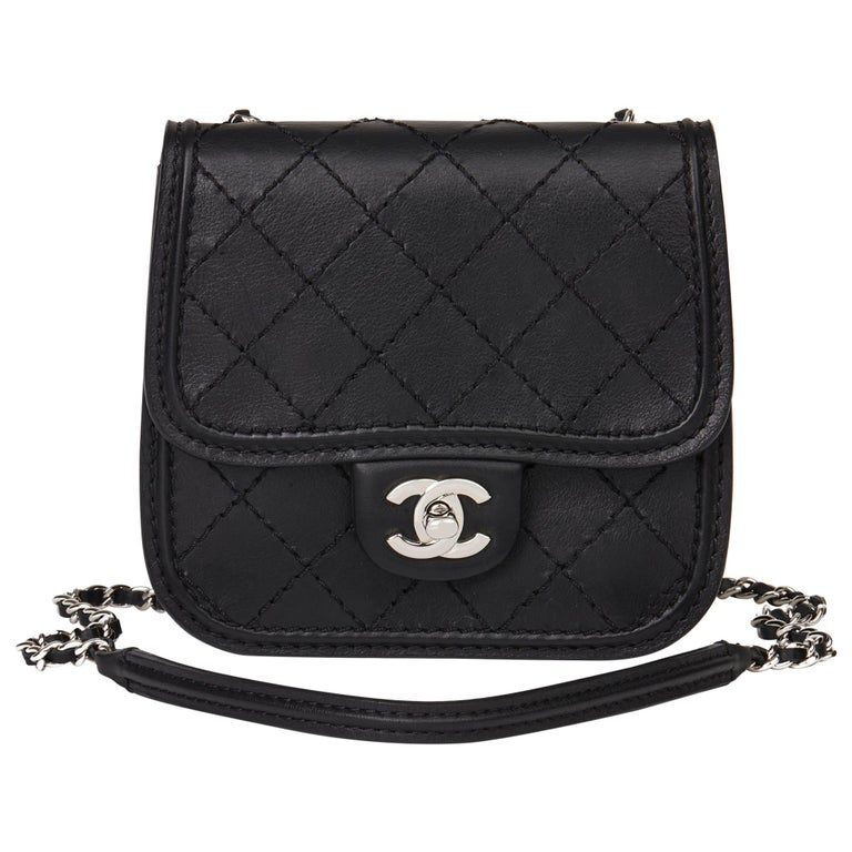 2013 Chanel Black Quilted Calfskin Leather Citizen Mini Flap Bag  For Sale