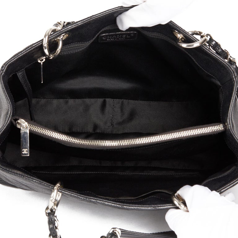 2013 Chanel Black Quilted Caviar Leather Grand Shopping Tote  7