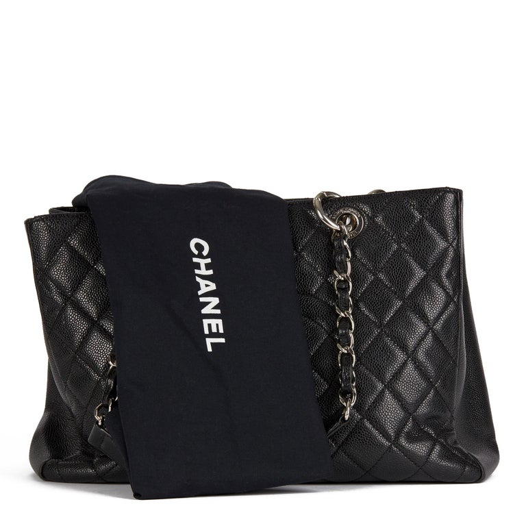 2013 Chanel Black Quilted Caviar Leather Grand Shopping Tote  8