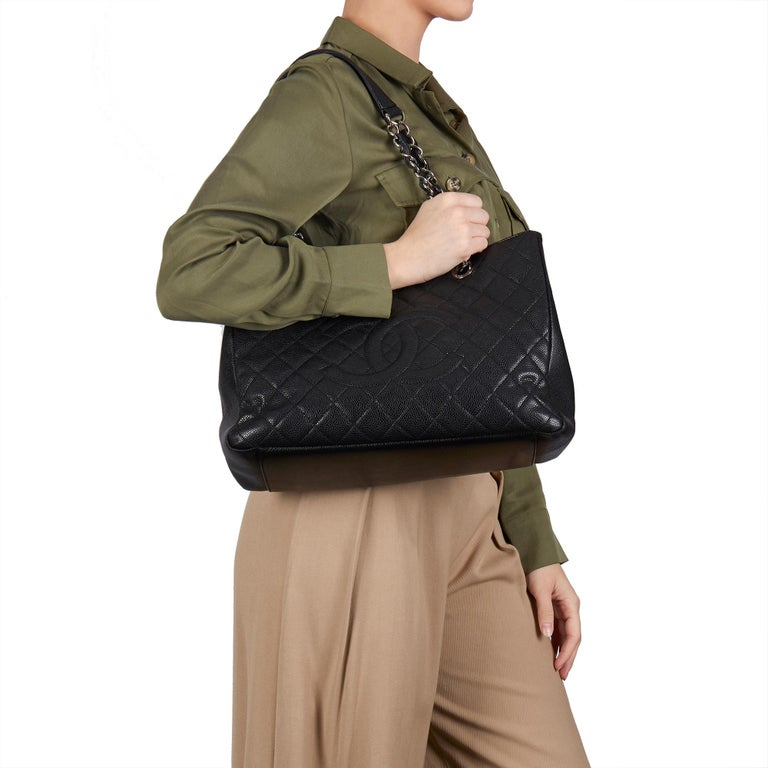 CHANEL  Black Quilted Caviar Leather Grand Shopping Tote   Xupes Reference: HB3260 Serial Number: 14717878 Age (Circa): 2013 Accompanied By: Chanel Dust Bag Authenticity Details: Serial Sticker (Made in Italy) Gender: Ladies Type: Tote, Shoulder