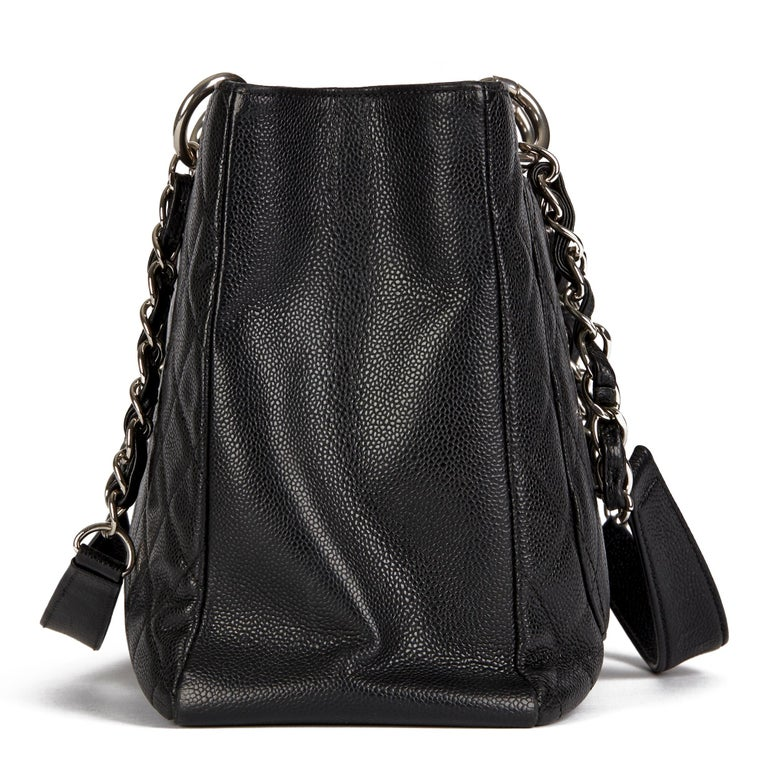 Women's 2013 Chanel Black Quilted Caviar Leather Grand Shopping Tote