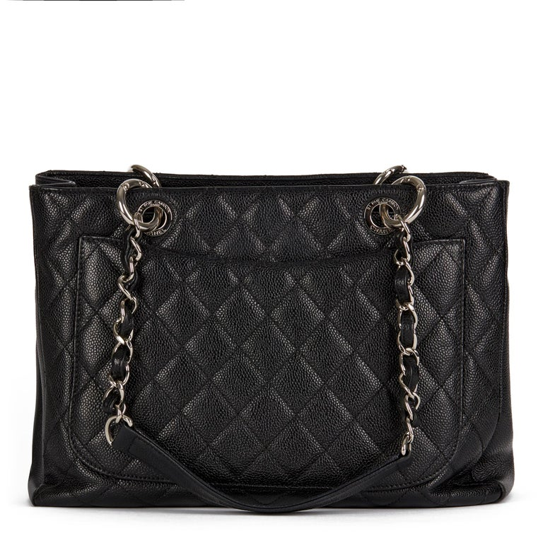 2013 Chanel Black Quilted Caviar Leather Grand Shopping Tote  1