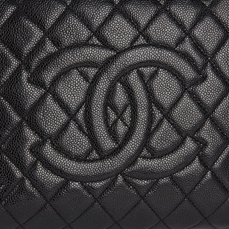 2013 Chanel Black Quilted Caviar Leather Grand Shopping Tote  3