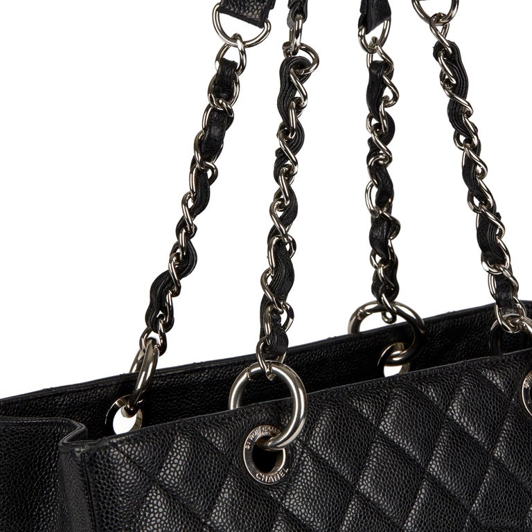 2013 Chanel Black Quilted Caviar Leather Grand Shopping Tote  4
