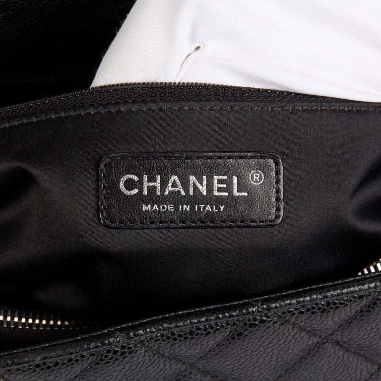 2013 Chanel Black Quilted Caviar Leather Grand Shopping Tote  5