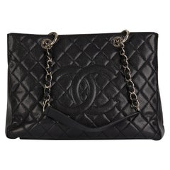 2013 Chanel Black Quilted Caviar Leather Grand Shopping Tote