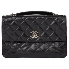 2013 Chanel Black Quilted Glazed Calfskin Leather Classic Single Flap Bag