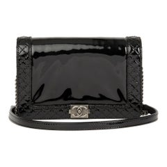 2013 Chanel Black Quilted Patent Leather Small Le Boy Reverso