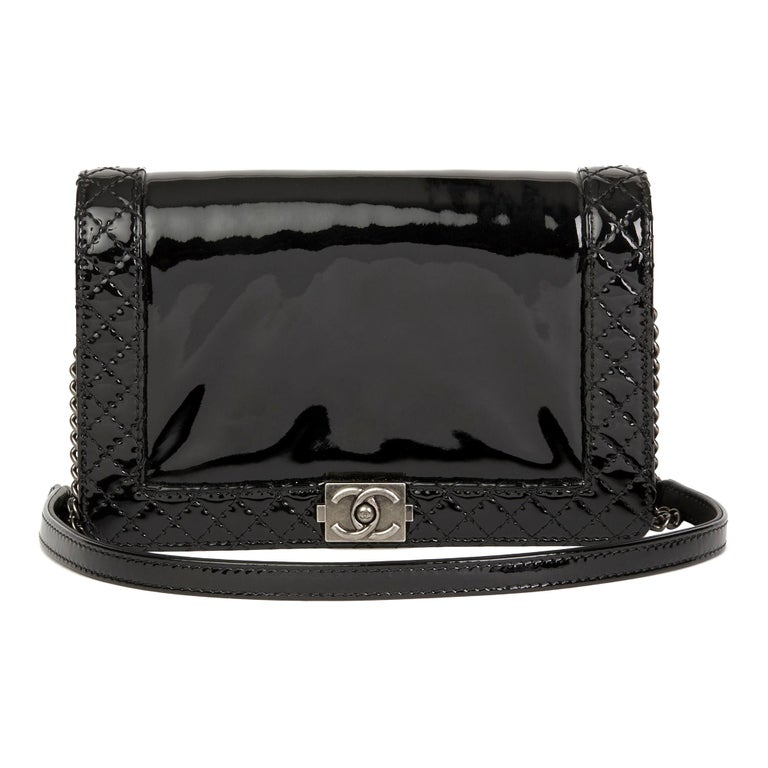 633c0a6f 2013 Chanel Black Quilted Patent Leather Small Le Boy Reverso