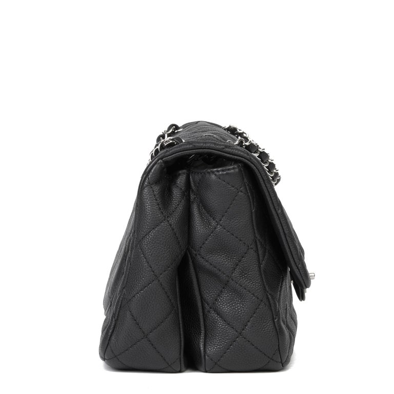 2013 Chanel Black Quilted Washed Caviar Leather Double Gusset Single Flap Bag In Excellent Condition For Sale In Bishop's Stortford, Hertfordshire