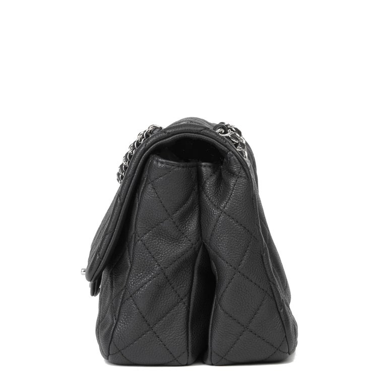 Women's 2013 Chanel Black Quilted Washed Caviar Leather Double Gusset Single Flap Bag For Sale