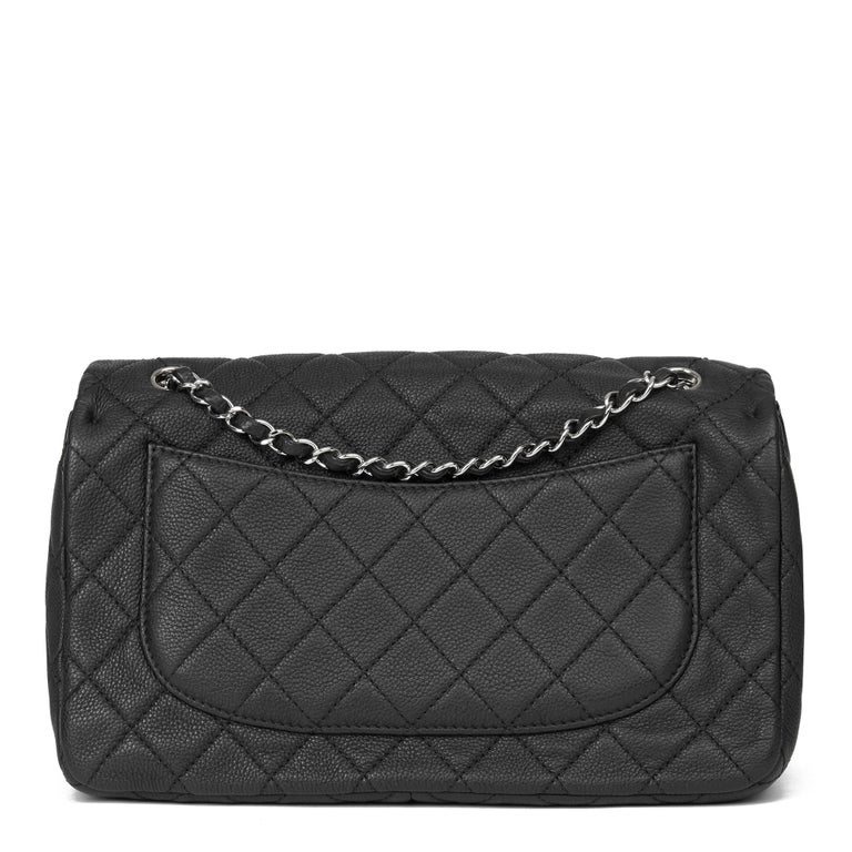2013 Chanel Black Quilted Washed Caviar Leather Double Gusset Single Flap Bag For Sale 1