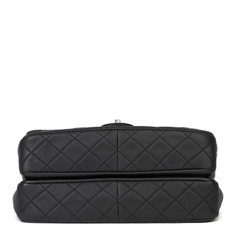 2013 Chanel Black Quilted Washed Caviar Leather Double Gusset Single Flap Bag For Sale 2
