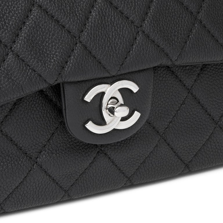 2013 Chanel Black Quilted Washed Caviar Leather Double Gusset Single Flap Bag For Sale 3