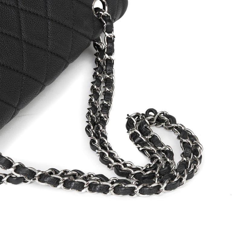 2013 Chanel Black Quilted Washed Caviar Leather Double Gusset Single Flap Bag For Sale 4