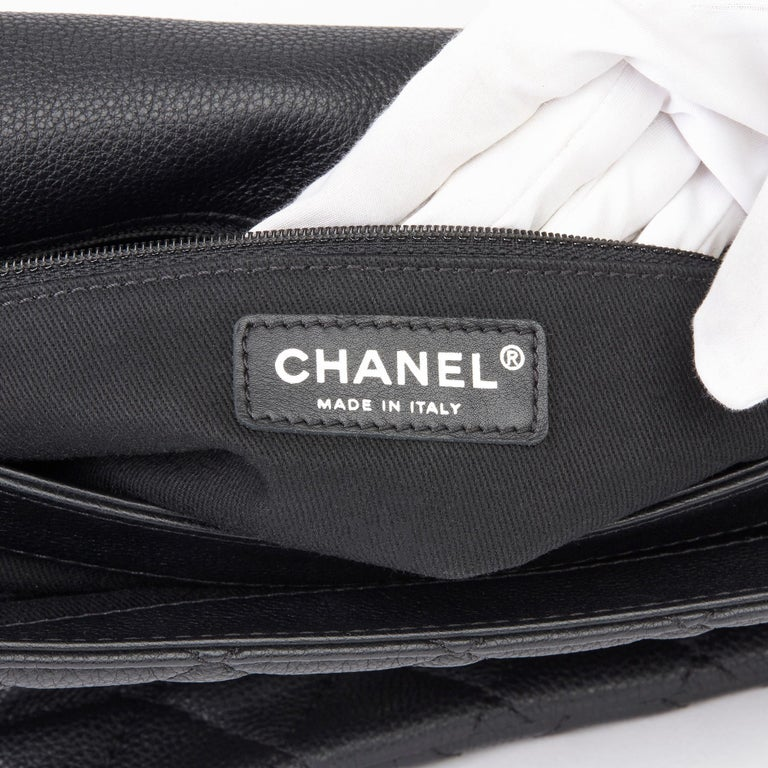 2013 Chanel Black Quilted Washed Caviar Leather Double Gusset Single Flap Bag For Sale 5