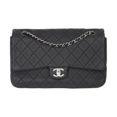 2013 Chanel Black Quilted Washed Caviar Leather Double Gusset Single Flap Bag