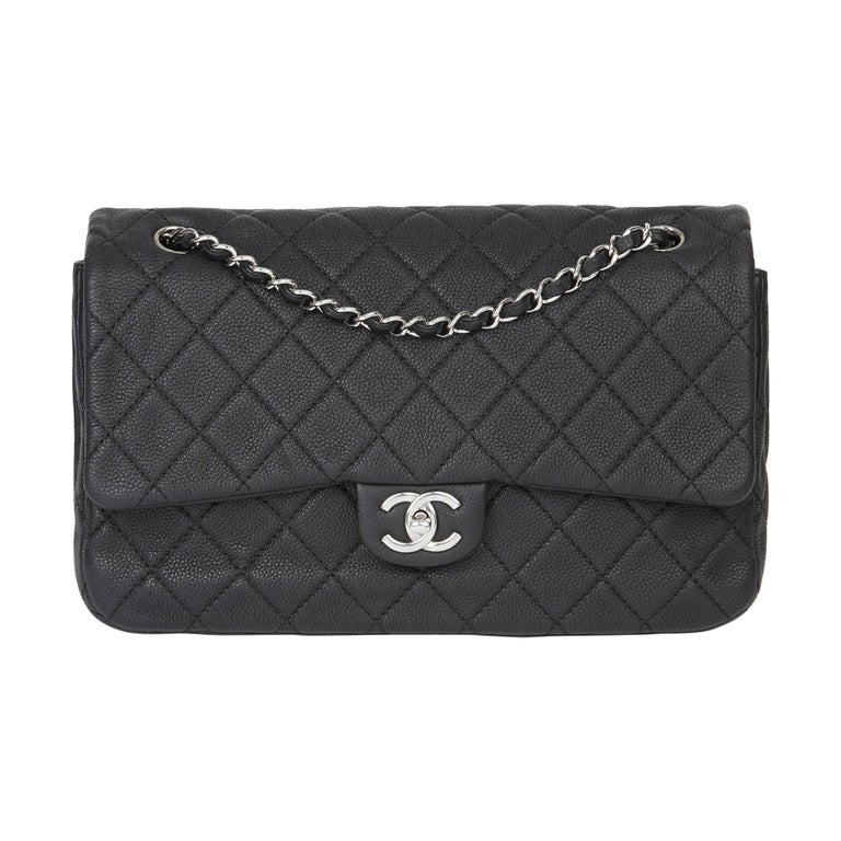 2013 Chanel Black Quilted Washed Caviar Leather Double Gusset Single Flap Bag For Sale