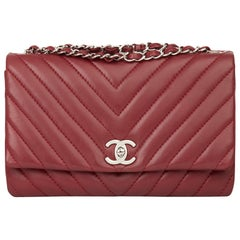 2013 Chanel Burgundy Chevron Quilted Lambskin Classic Single Flap Bag