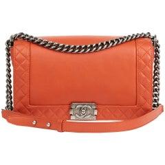 2013 Chanel Burnt Orange Quilted Calfskin Leather Medium Le Boy Reverso