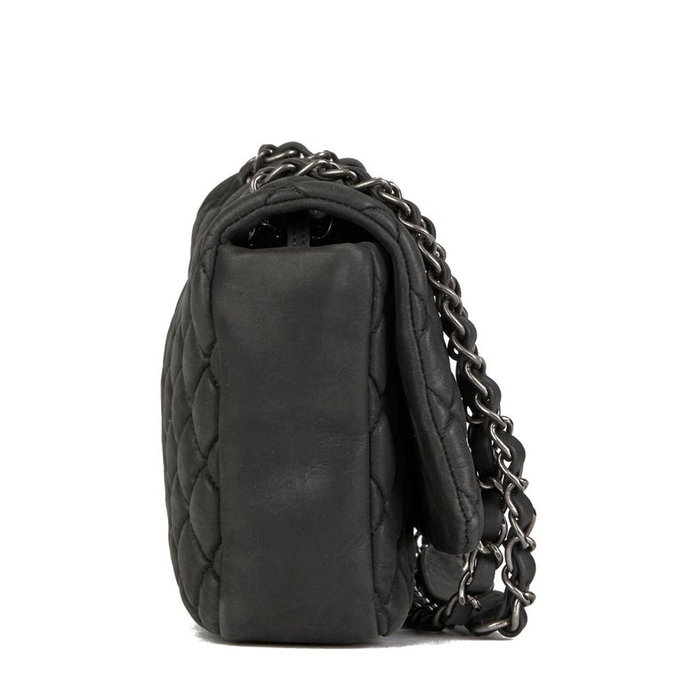 Black 2013 Chanel Dark Grey Bubble Quilted Velvet Calfskin Small Bubble Flap Bag For Sale