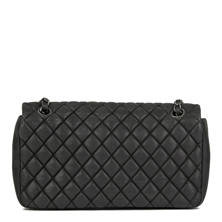 Women's 2013 Chanel Dark Grey Bubble Quilted Velvet Calfskin Small Bubble Flap Bag For Sale