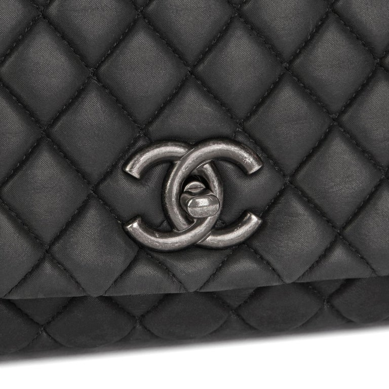 2013 Chanel Dark Grey Bubble Quilted Velvet Calfskin Small Bubble Flap Bag For Sale 2