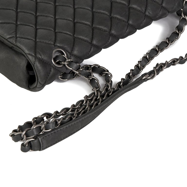 2013 Chanel Dark Grey Bubble Quilted Velvet Calfskin Small Bubble Flap Bag For Sale 3