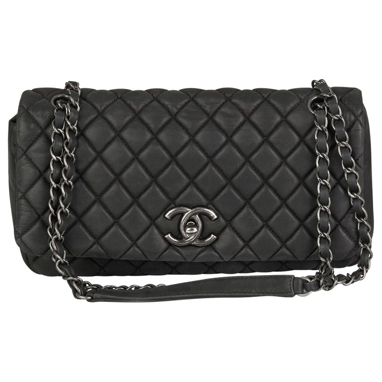 2013 Chanel Dark Grey Bubble Quilted Velvet Calfskin Small Bubble Flap Bag For Sale