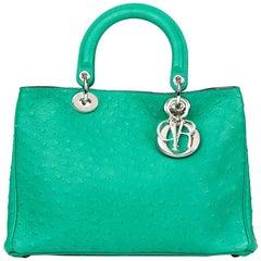 2013 Christian Dior Emerald Ostrich Leather Diorissimo MM
