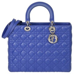 2013 Christian Dior Purple Quilted Lambskin Leather Lady Dior GM