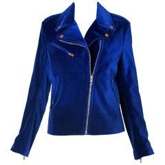 2013 Christopher Kane Cobalt Blue Velvet Biker Jacket