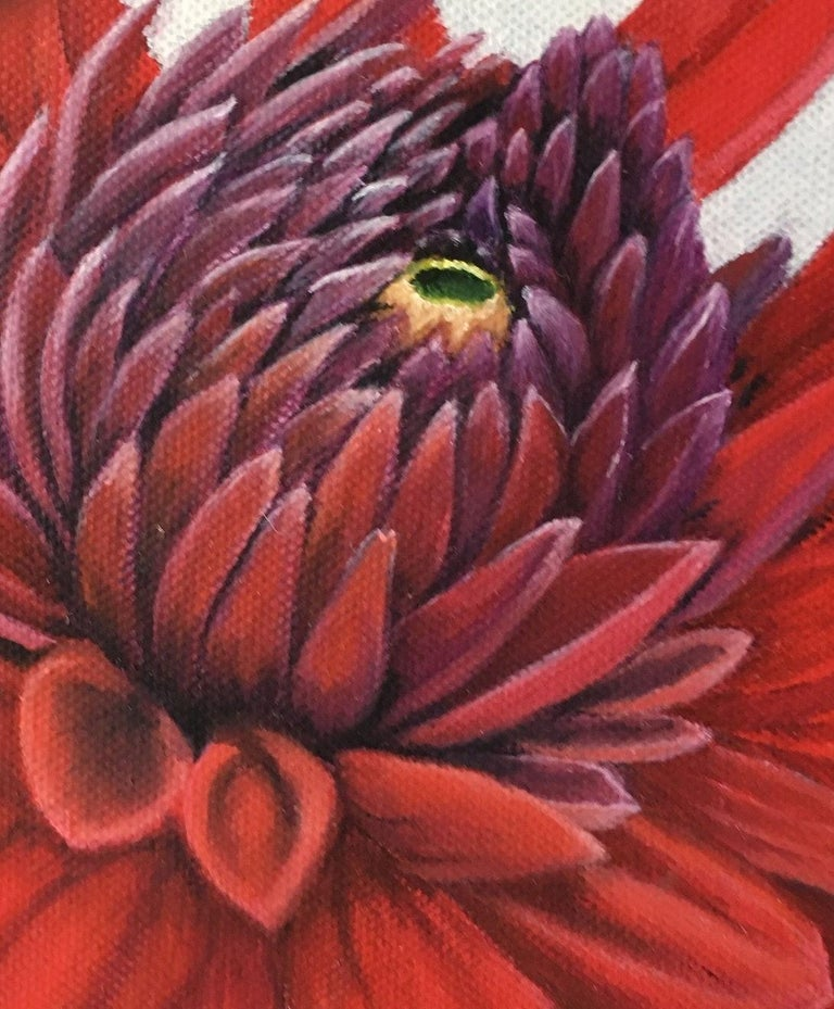 A close-up picture of the red daliah. It is one of four paintings of vividly colored and almost stylistic flowers.  About the artist:  Esther Hansen grew up in the countryside and now lives on a farm. She started her painting career by