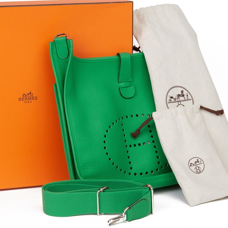 2013 Hermès Bamboo Clemence Leather Evelyne III 33 For Sale 8