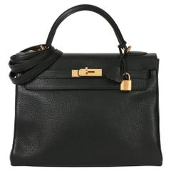 2013 Hermès Black Clemence Leather Kelly 32cm Retourne