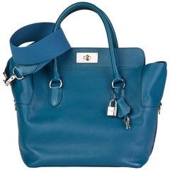 2013 Hermès Blue Izmir Evercolour Leather Toolbox 26cm