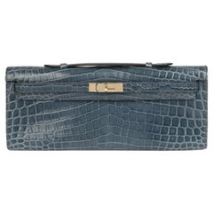 2013 Hermes Blue Tempete Shiny Niloticus Crocodile Leather Kelly Cut