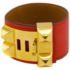 2013 Hermes Collier de Chien Bracelet Cuff in Coral Orange Leather