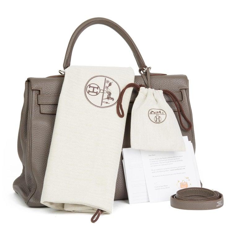 2013 Hermès Etain Togo Leather Kelly 35cm Retourne For Sale 6